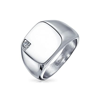 a22b617e64b33 Bling Jewelry Mens Cubic Zirconia CZ Accent Engravable Square Signet Ring  for Men Silver Tone Stainless Steel