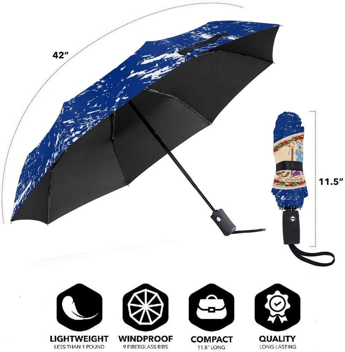 Virginia State Flag Automatic Tri-fold Umbrella Interesting Windproof Anti UV Rain//Sun Travel Umbrella Light Weight.