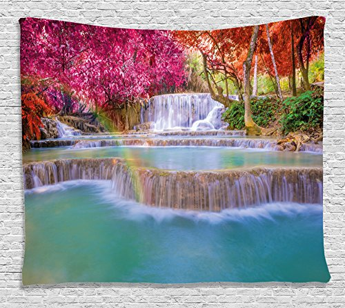Tapestry Wall Asian (Ambesonne Waterfall Decor Tapestry, Rain Forest in Vietnam Laos with Asian Pink and Orange Trees side of River Image, Wall Hanging for Bedroom Living Room Dorm, 80 W X 60 L Inches, Pink)