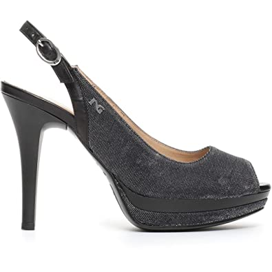 Nero Giardini P717412DE Sandales Femme Noir - Chaussures Escarpins Femme