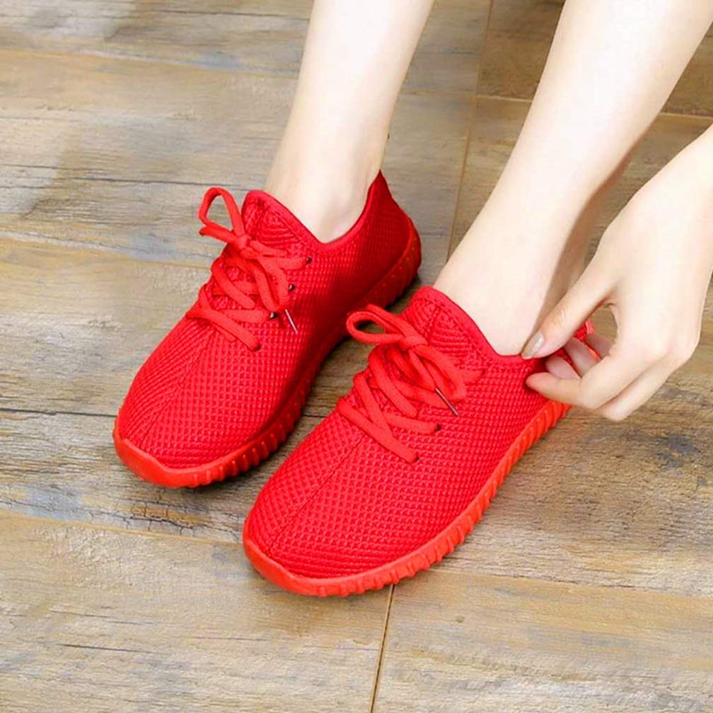 Webb Perkin Women Air Mesh Wedges Red Black Platform Shoes Female Casual Shoes Lace Up Soft Walking Shoes