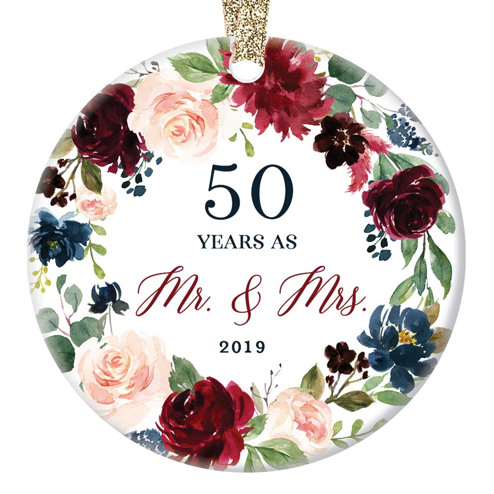 "2019 Christmas Ornament Celebrating 50Th Fiftieth Golden Wedding Anniversary Husband & Wife Fifty Years Married Beautiful Ceramic Holiday Gift Keepsake Porcelain 3"" Flat mit Gold Ribbon Free Box"