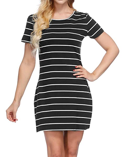 6feae7b055d CYFLYMDER Women's Casual Loose Striped Lovely T Shirt Mini Dress with  Pockets (Black, ...