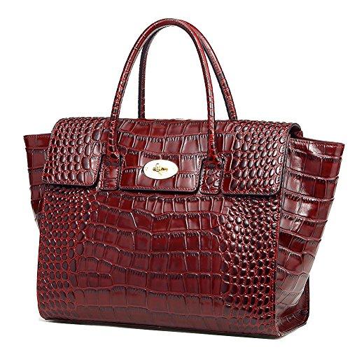 Crocodile luxe QI capacité main sacoches à à main WANG en Femmes grande cuir de à sacs véritable gaufré sac sac Rouge main rOW4OBnzP