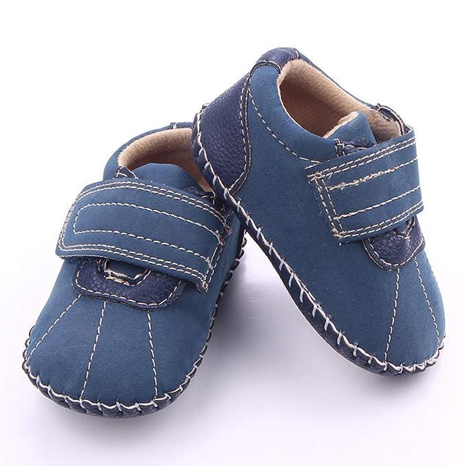 YanHoo Zapatos para niños Zapatos recién Nacidos cosidos a Mano en un Solo Paso para niños Zapatilla de Deporte antirresbaladiza de Cuero de del niño Wram ...