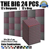 Dragon Dash 24 Pack of 50 X 50 X 5 cm Burgundy and Gray Acoustic Soundproofing Pyramid Foam Studio Treatment Wall Panel Tiles DD1034 (BURGUNDY & GRAY)