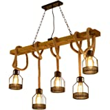 Ceiling Chandelier Home Living Room Lamp Retro Wood Chandelier Clothing Store Lamps Bar Restaurant Lights (Color : Brown…
