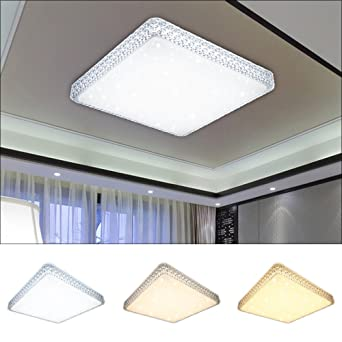 VINGOR 60W LED Deckenlampe Starlight Effekt Deckenbeleuchtung Wohnzimmer Wandlampe Schlafzimmer Farbwechsel Deckenleuchte Eckig Sternen