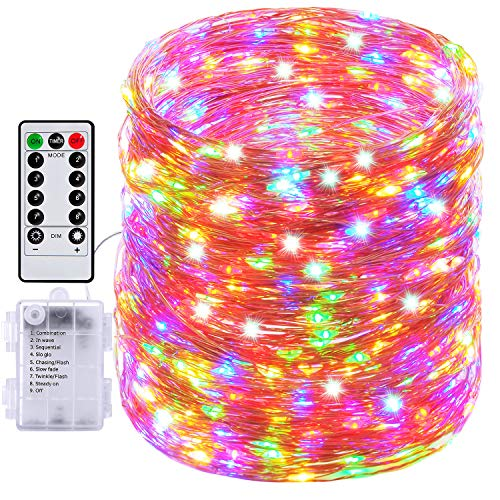 Fairy Lights, 66ft 200 LED Outdoor String Lights, Waterproof Battery Operated Copper 8 Lighting Modes, Chirstmas Party Bedroom Garden(Multiple Colour) (Garden Fairy Party)