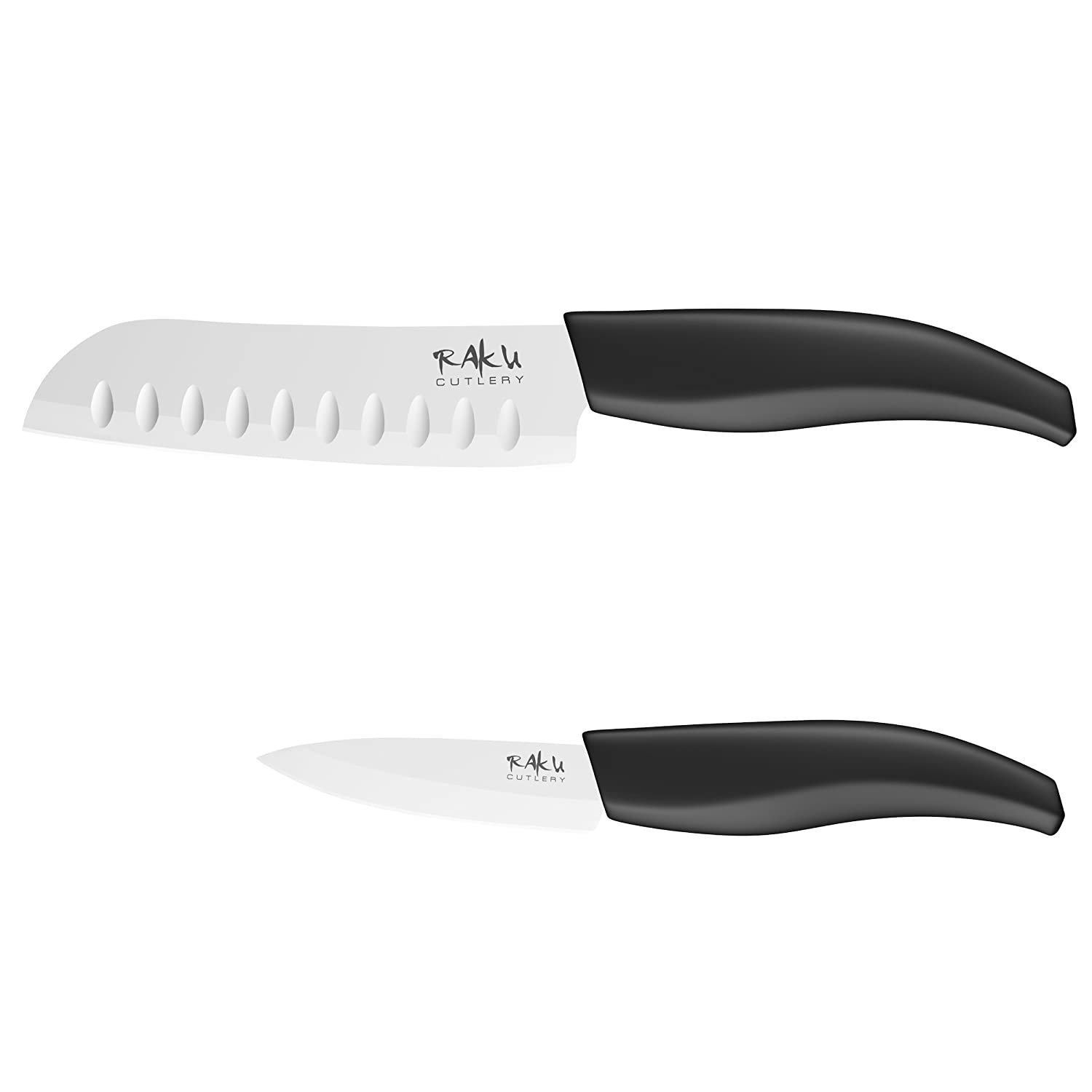 raku cutlery ceramic knives set with 5 inch santoku