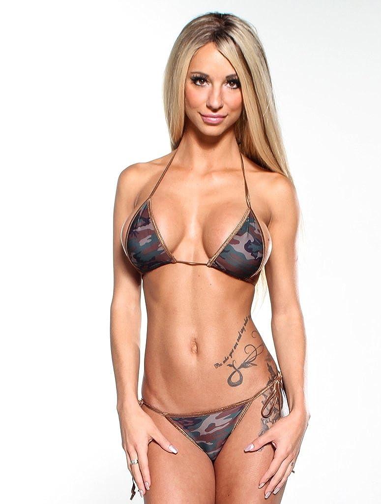 Amazon.com: Dark Camouflage Sexy Scrunch Butt Bikini 2pc Cheeky Pucker  Bottom w Brown String: Clothing