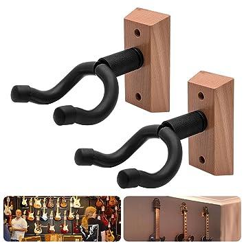 Pack de 2 Pared Guitarra percha pantalla soporte con base de madera soporte de gancho para