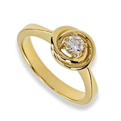 Solitär Ring mit weißen Zirkonia 925 Silber Gelbgold vergoldet Fingerschmuck