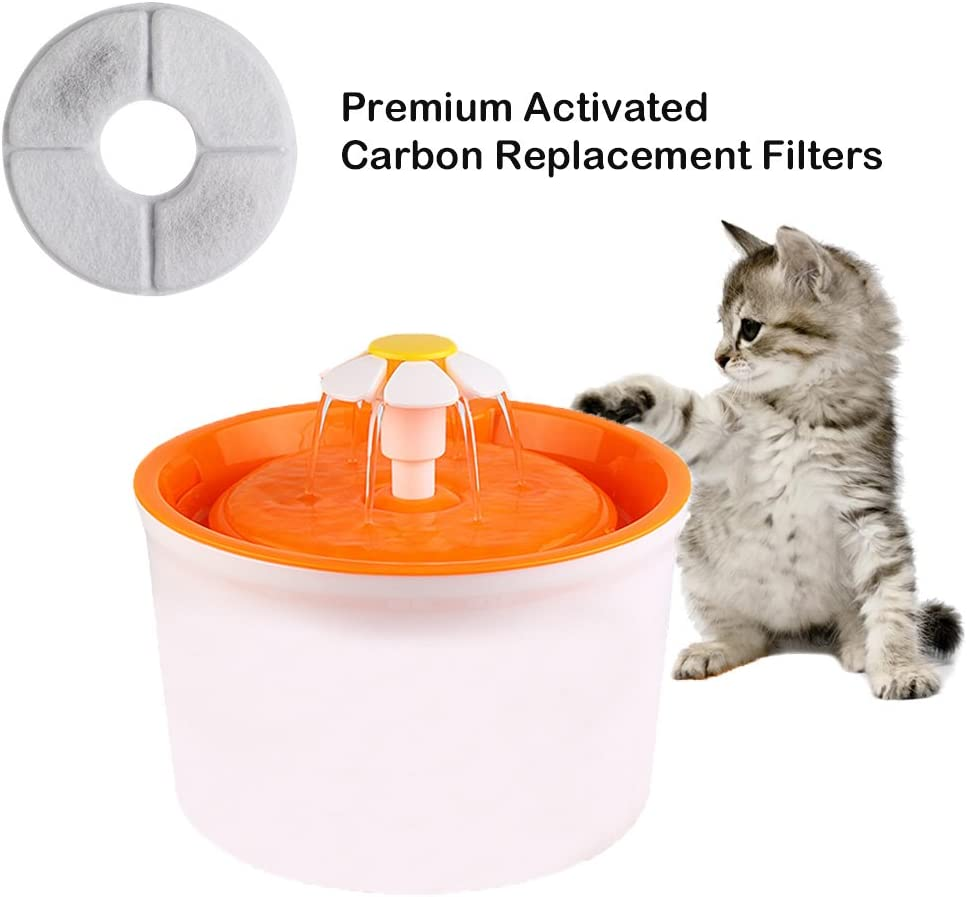 Eleoption 1.6L Pet Water Fountain Daisy Style Automatic Electric Circulating Pet Water Fountain Dogs//Cats Drinking Bowl Water Dispenser with Filter Green