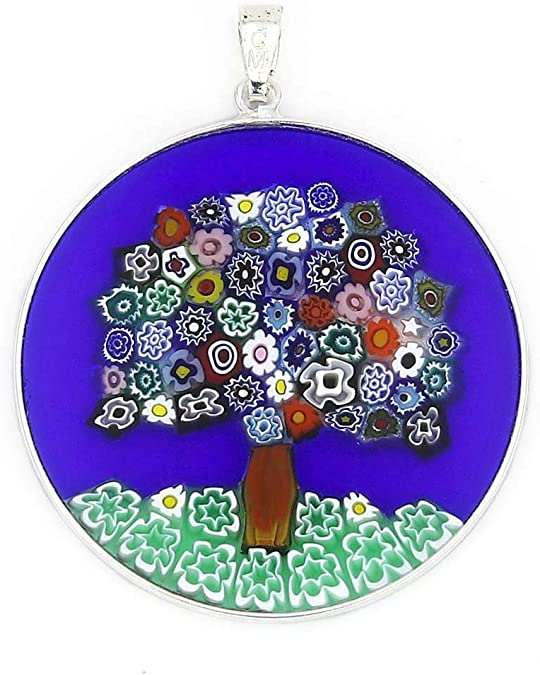 "Details about  /GlassOfVenice Murano Glass Millefiori Pendant in Silver Frame 7//8/"""