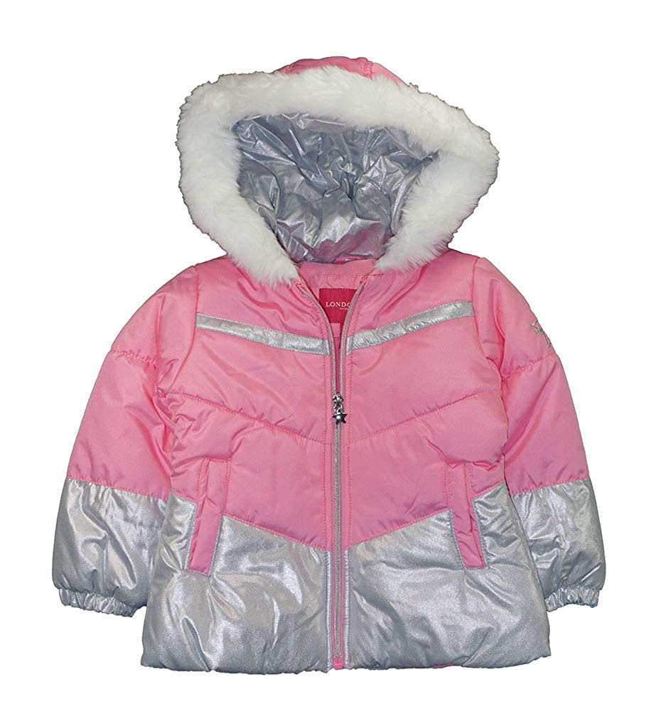 Grey Shooting Stars Print LONDON FOG Baby Girls Snowsuit with Snowbib and Puffer Jacket 18MO