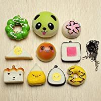 New 10Pcs Random Squishy Soft Sushi/Panda/Bread/Cake/Buns Phone Straps By KTOY