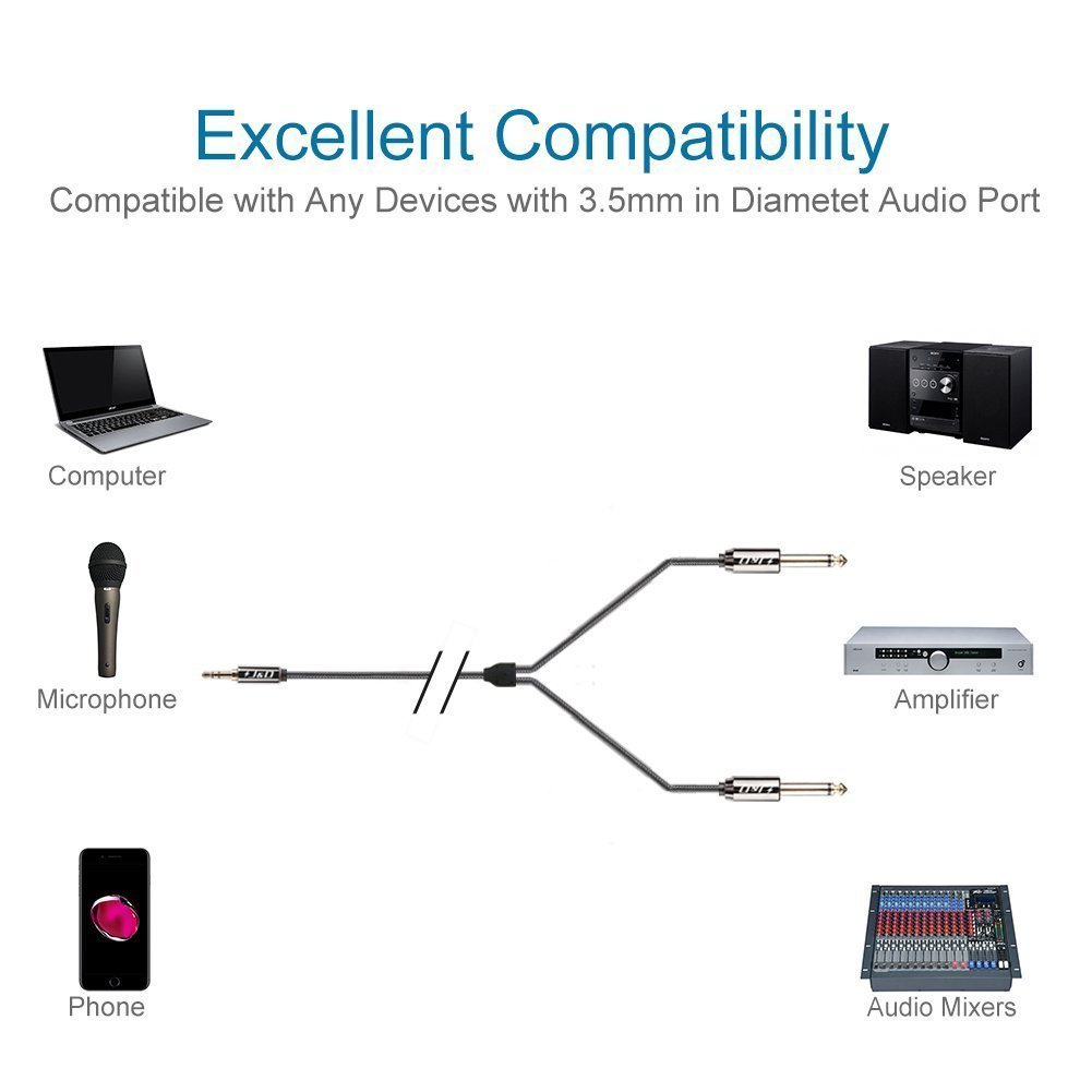iPod 3.5 mm to 2 X 6.35 mm Cable J/&D Gold-Plated 1.5 Feet // iPad Home Theater Devices Amplifiers 3.5mm 1//8 TRS Male to 2x 6.35mm 1//4 TS Male Mono Cable Splitter with Zinc Alloy Housing and Nylon Braid for iPhone Laptop Copper Shell Heavy Duty