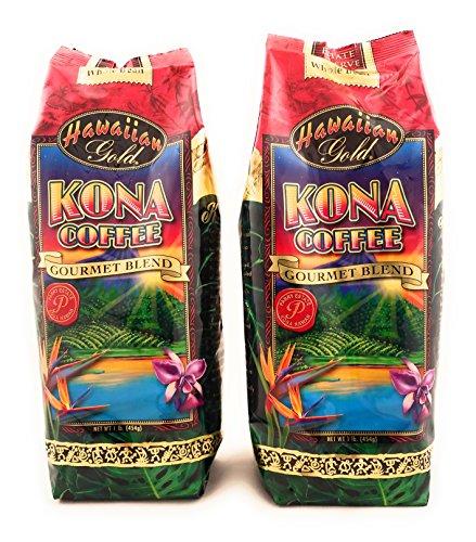Hawaiian Gold Kona Coffee Whole Bean 1 Lb. (Pack of (Blend Gourmet Coffee Beans)