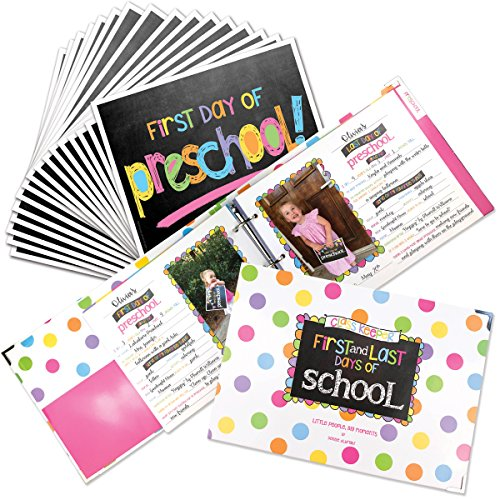 School Memory Book Keepsake Album for Kids Memories with Pockets Every Grade Bundle with First Day and Last Day of School Signs Photo Prop (Preschool-College) ()