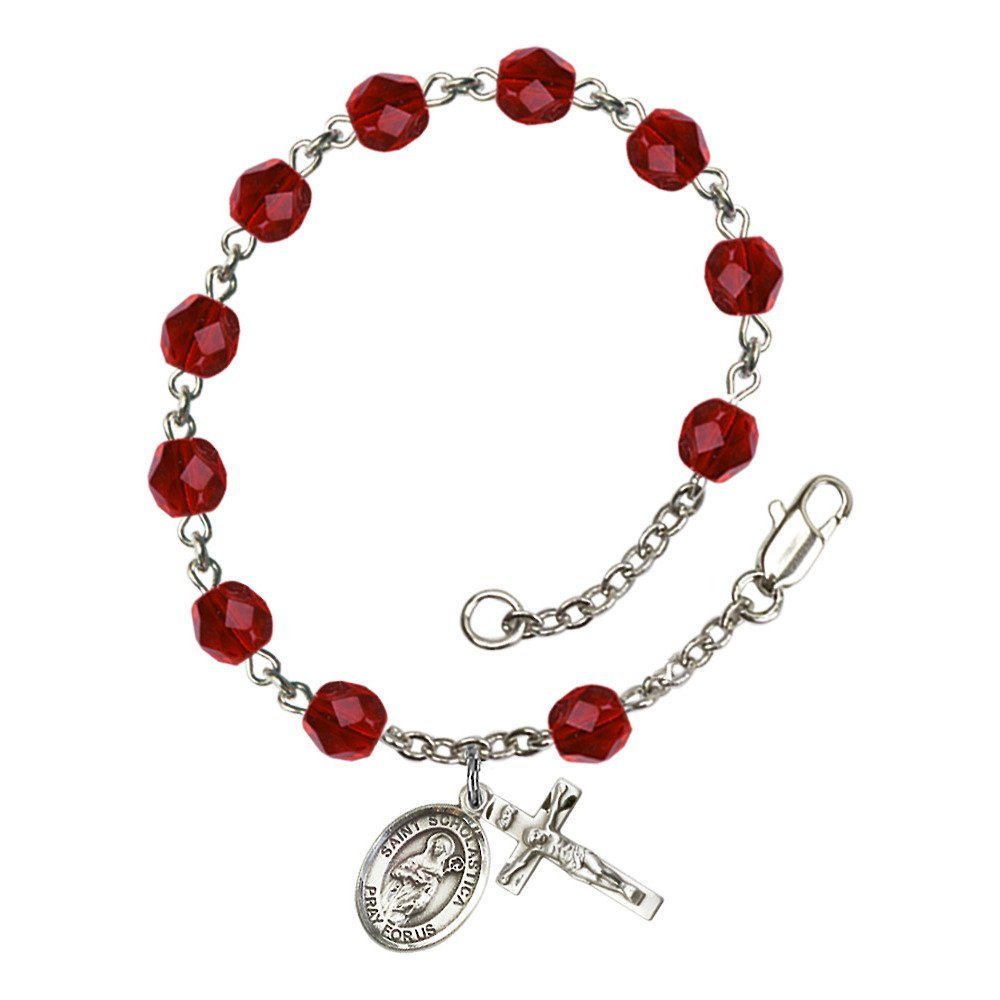 Bonyak Jewelry St. Scholastica Silver Plate Rosary Bracelet 6mm July Red Fire Polished Beads Crucifix Size 5/8 x 1/4 Medal Charm