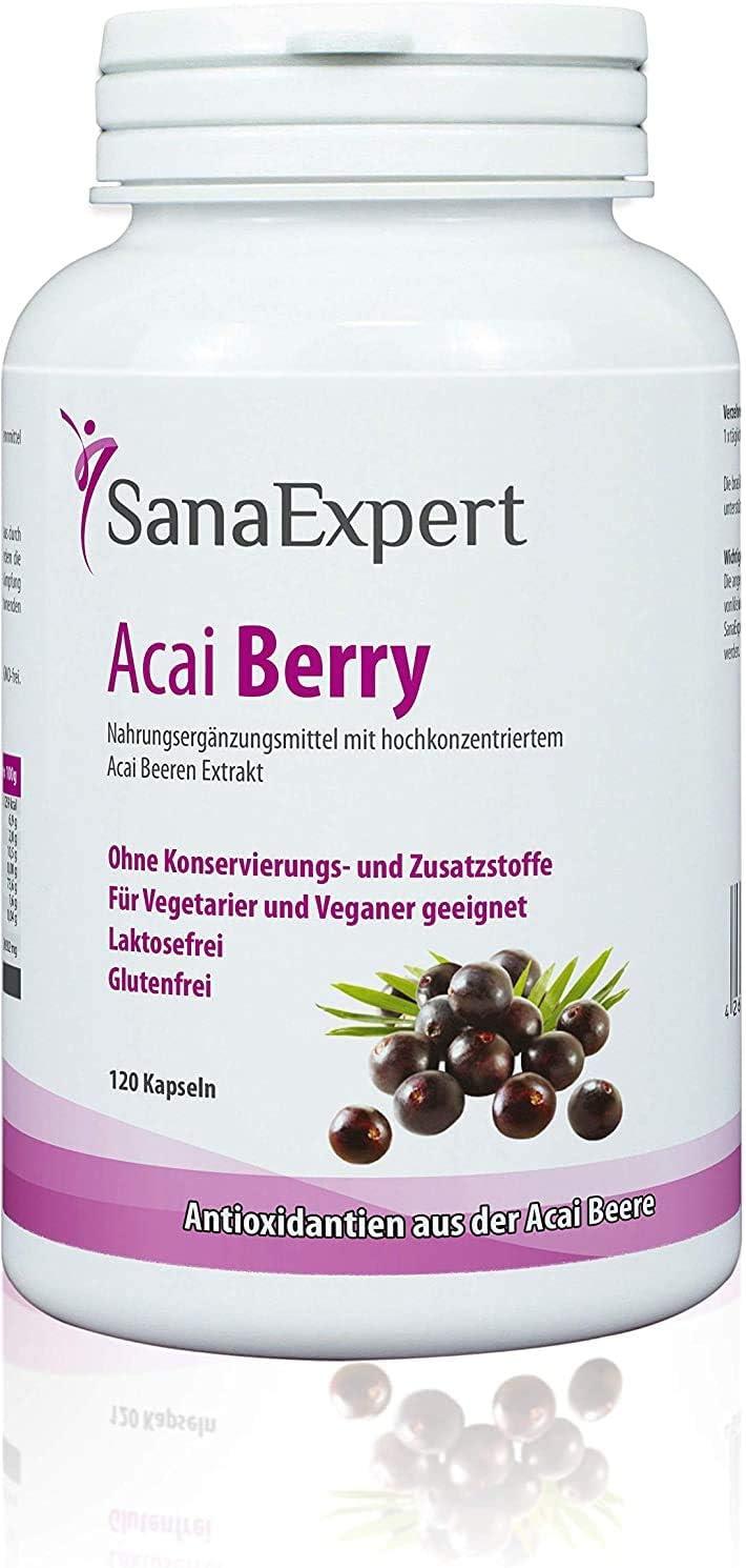 SanaExpert Acai Berry, Suplemento Nutricional con Extracto Puro de Bayas de Acaí, 100% Natural, Libre de Gluten, Lactosa, Apto para Vegetarianos y Veganos, 120 Cápsulas