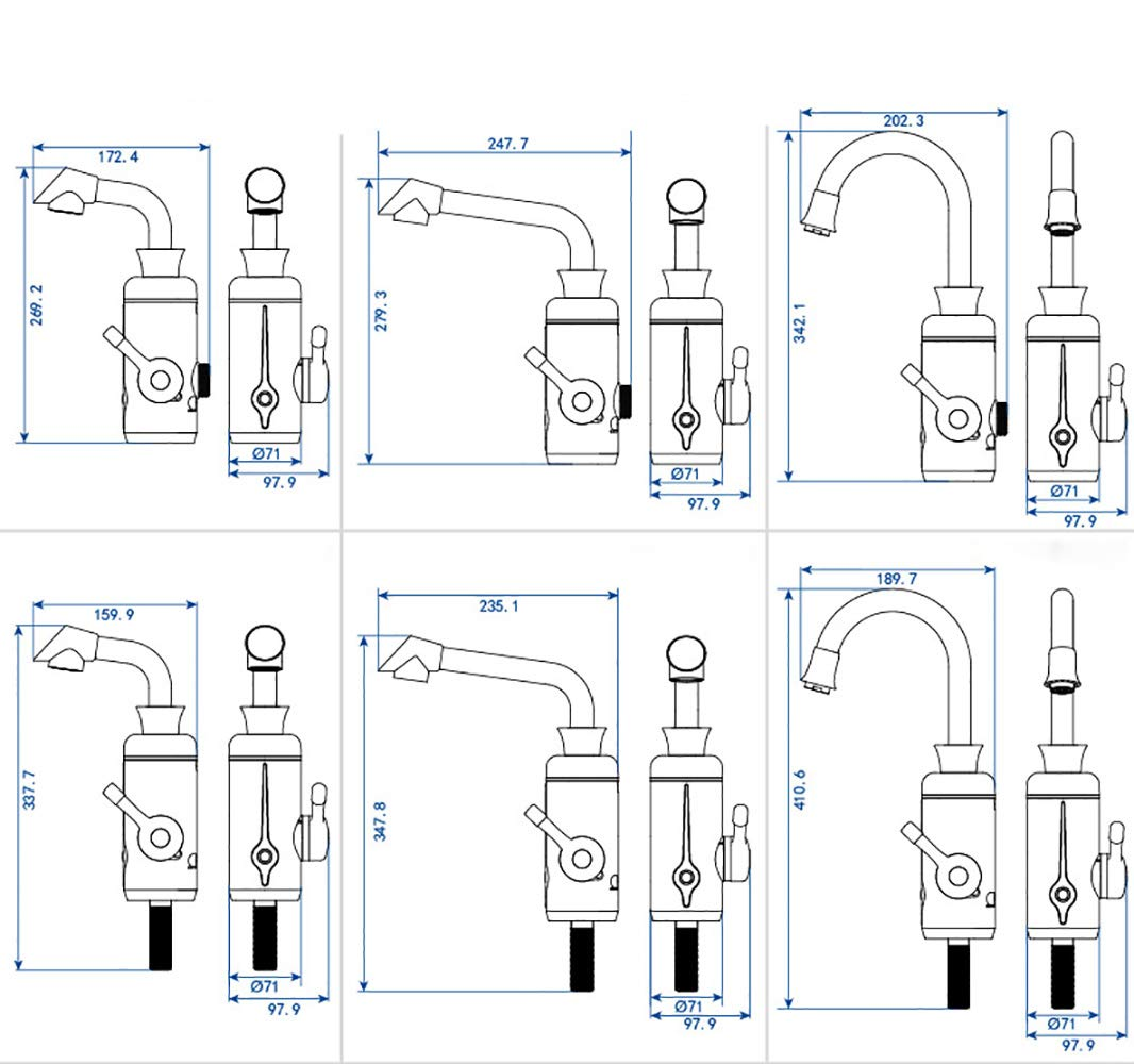 Calentador Eléctrico Del Grifo De Agua De 220V Con La Cocina 360 ° Giratorio Ajustable Tipo De Instalación Agua Lateral: Amazon.es: Hogar