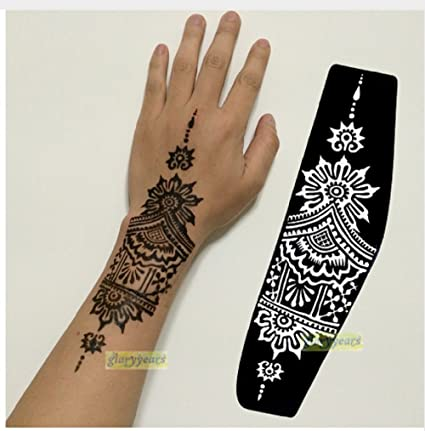Buy Large Mehndi Henna Glitter Temporary Tattoo Airbrush Stencils