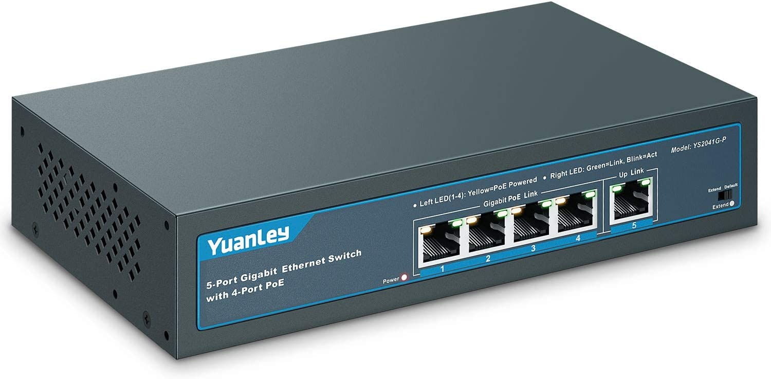 YuanLey 5 Port Gigabit PoE Switch with 4 Port PoE+ 1000Mbps, 802.3af/at 78W Built-in Power, Fanless Metal Unmanaged Plug & Play