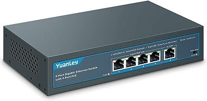10//100Mbps Ethernet YuanLey 4 Port PoE Switch Desktop Unmanaged Metal Network Switch 802.3af//at 78W 2 Port Uplink