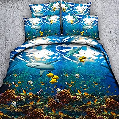 EsyDream Underwater World Animal Shark Ocean Fish with Coral Reef Kids/Boys Duvet Cover Sets No Comforter