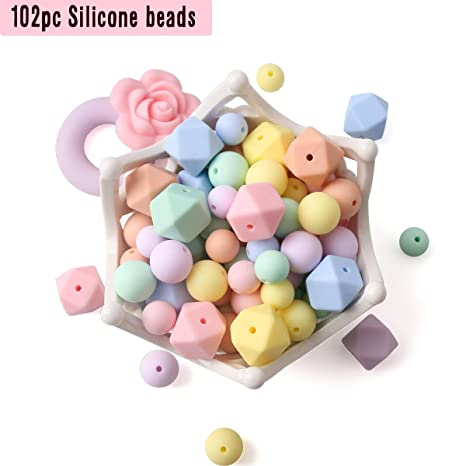 0ab9a3745888 baby tete Cuentas de Silicona para Bebé Collares de Dentición 102pcs Perla  Suelta para Mordedores Sensoriales
