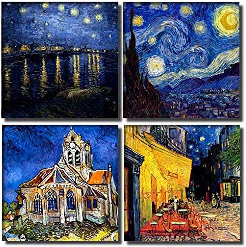 time4art Vincent Van Gogh Print Canvas 4 de 4 x 30 x 30 cm Iglesia ...