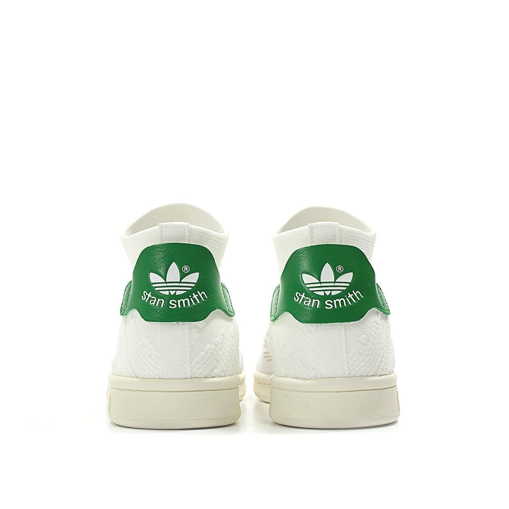 adidas Originals Women's Stan Smith Sock PK W Sneaker, White/White/Green, 6 M US