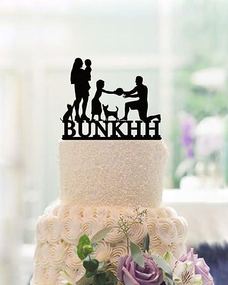 Anniversario Matrimonio Con Bambini.Acrilico Family Silhouette Cake Topper Con Bambini Matrimonio Cake