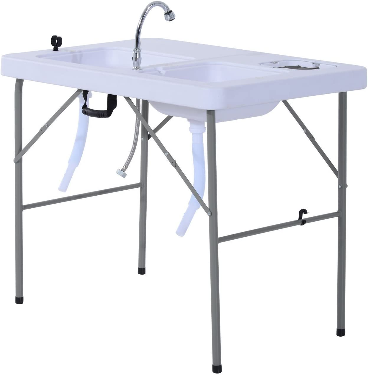 GJH One Fish Cleaning Table Portable Folding Faucet Sink Outdoor Camping Kitchen 39.8x26.0x31.9