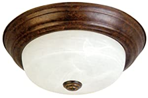 Yosemite Home Decor JK101-11DB 2-Light Flush Mount with Marble Glass Shade, Dark Brown, 11-Inch