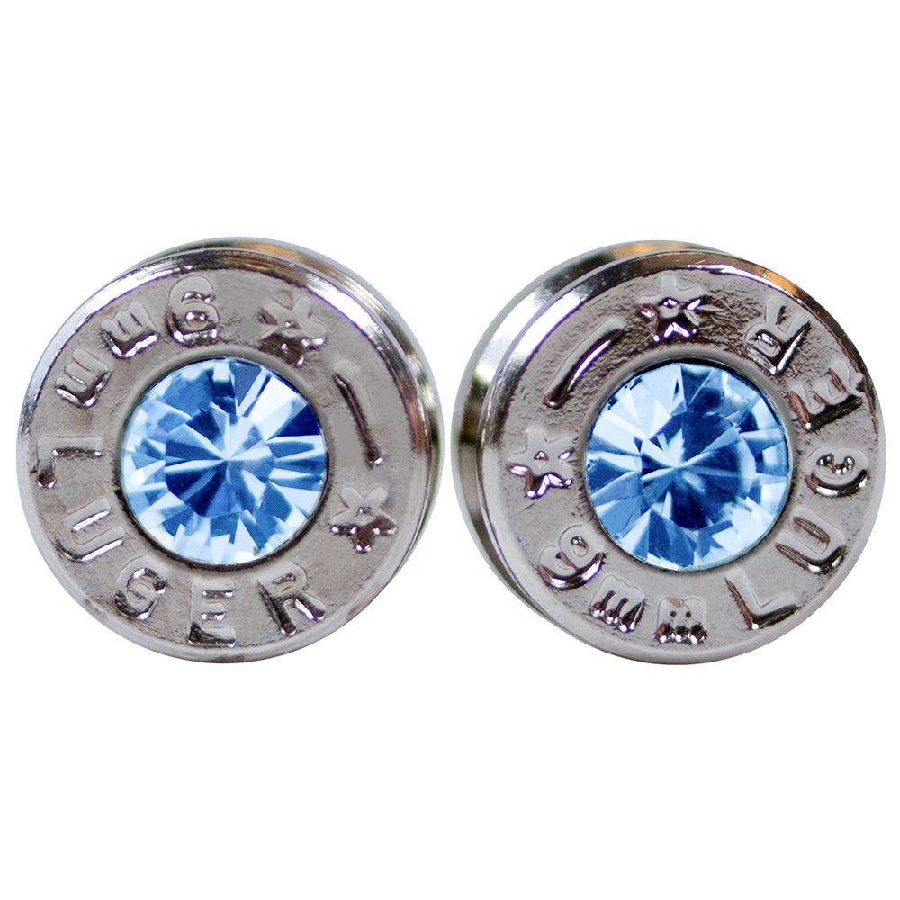 Real Silver Bullet Stud Earrings with Swarovski Aquamarine Crystal Gems