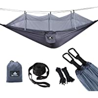 NatureFun Ultra-Light Travel Camping Hammock | 300kg Load Capacity,Breathable,Quick-Drying Parachute Nylon | 2 x Premium Carabiners,2 x Nylon Slings Included | for Outdoor Indoor Garten