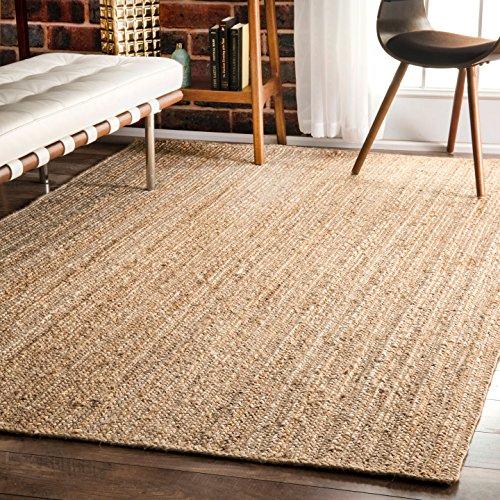 nuLOOM Natural Hand Woven Rigo Jute rug Area Rug, 9' x 12' (Natural Woven)