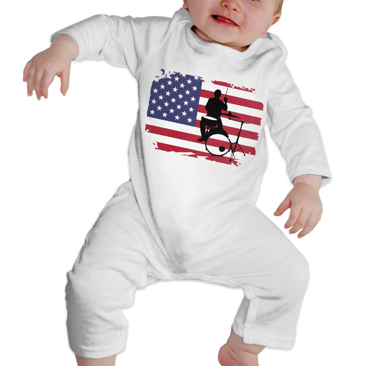 A1BY-5US Baby Infant Toddler Cotton Long Sleeve Drummer with American Flag-1 Climb Jumpsuit Funny Printed Romper Clothes