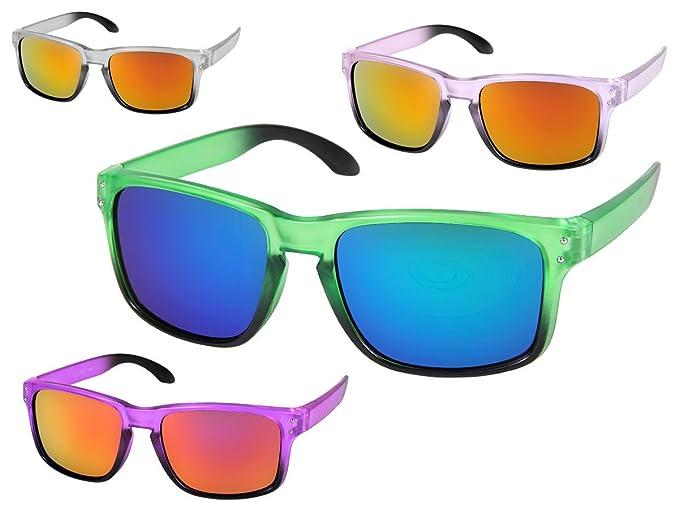 Alsino Wayfarer Nerd gafas de sol efecto espejo retro unisex ...