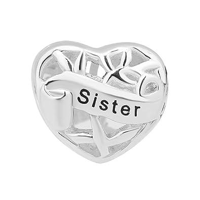 11fa67597 Isajewelry 925 Sterling Silver Heart I Love Sister Charm Cheap Family Tree Beads  Fit Pandora Charm Bracelets: Amazon.co.uk: Jewellery