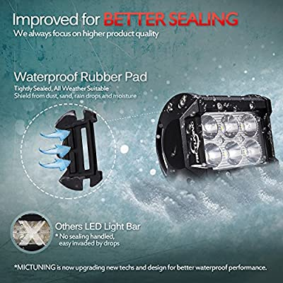 MICTUNING CREE Led Light Bar, 2PCS 4Inch 18W Spot Led Pods 1260lm Off Road Driving Fog Lights For Jeep Rzr ATV UTV SUV Truck Boat Motorcycle: Automotive
