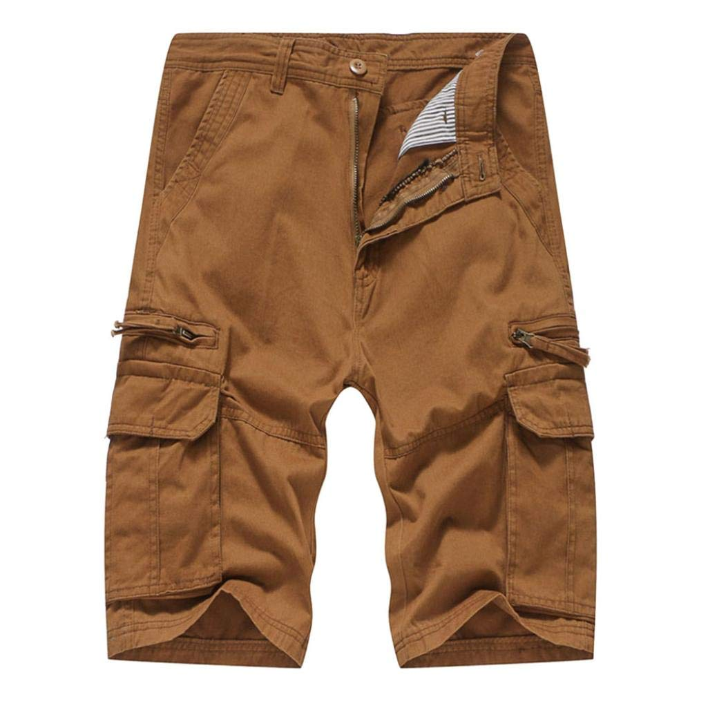 Discount Season Multi-Pockets Casual Shorts Cargo Pants Mens Relaxed Fit Pure Color Outdoors Work Beach Trousers