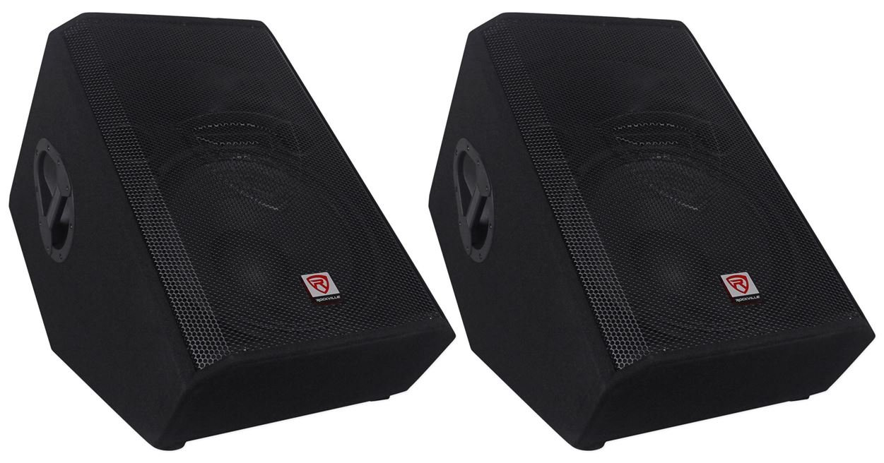 (2) Rockville RSM15A 15'' 2-Way Powered Active Floor Monitor Speakers 2800 Watts