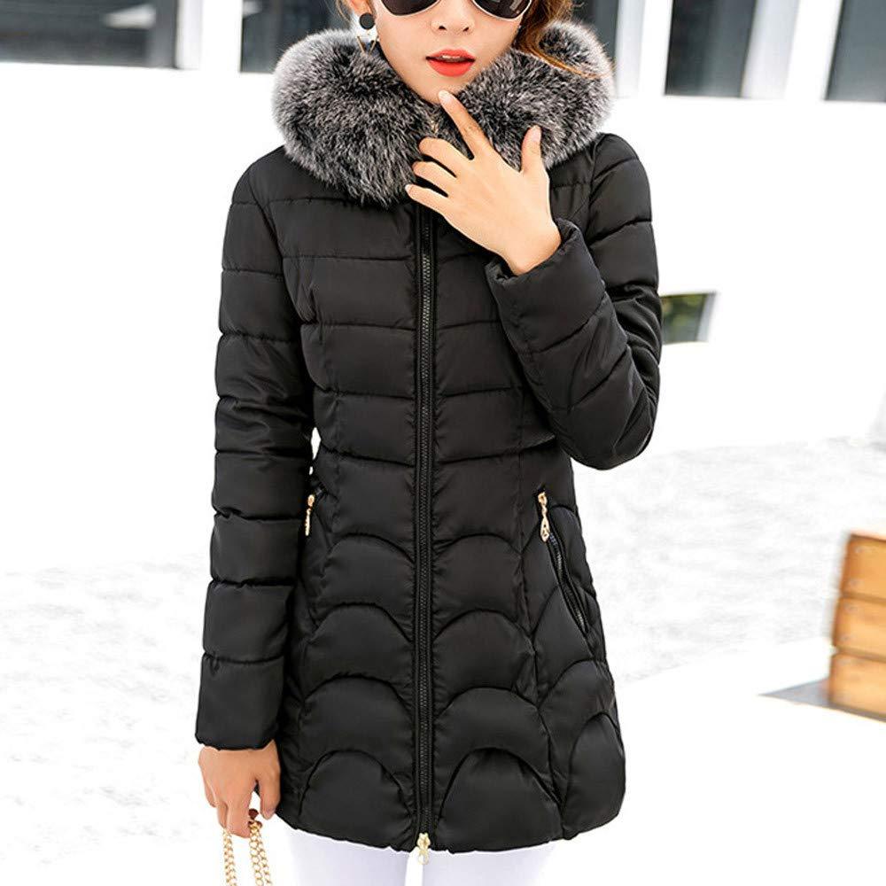 Dream Room Women Winter Thicken Puffer Coat with Fur Trim Removable Hood Wild Parka Outwear