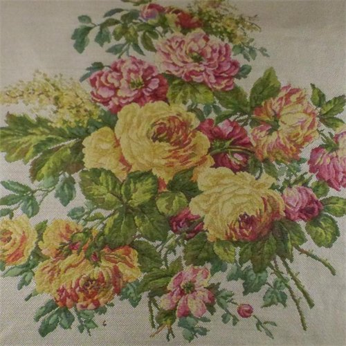 Ivory/Multi Texnova Floral Tapestry Home Decorating Fabric, Fabric by The Yard
