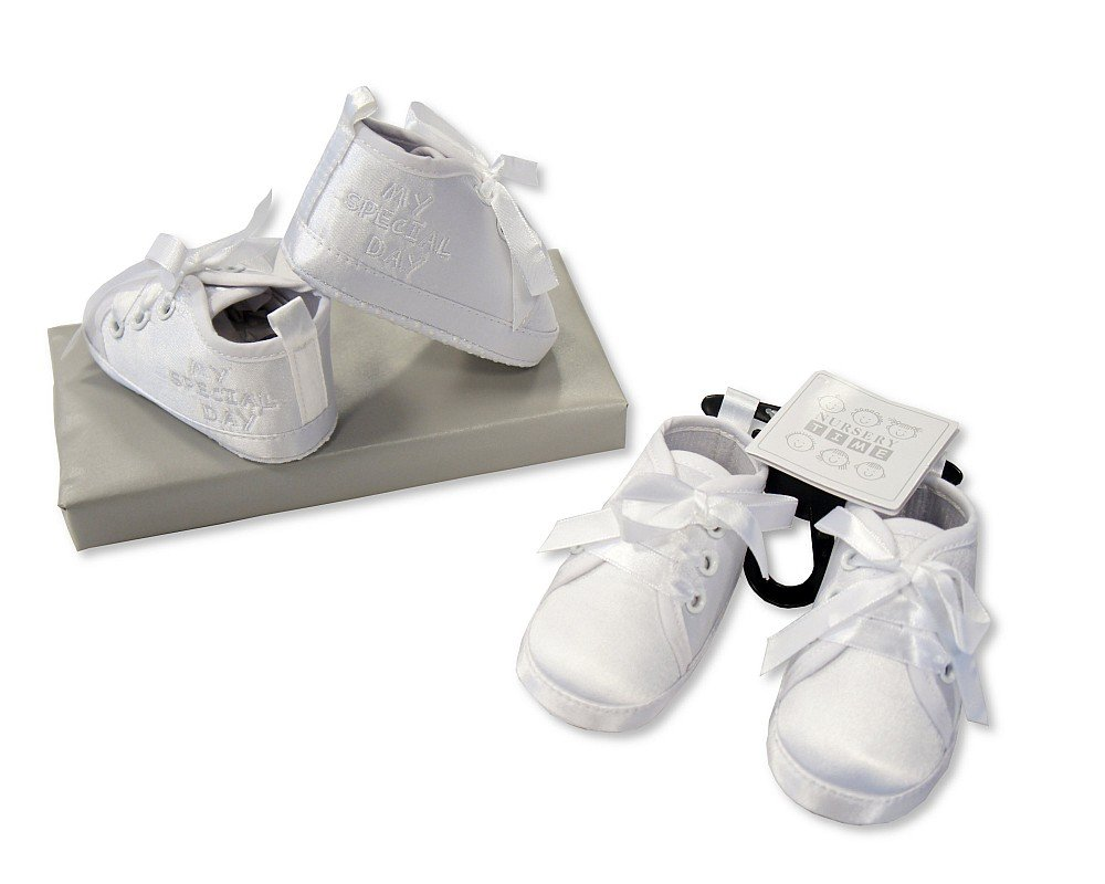 Baby Boys Christening Shoes White - My Special Day - Size 0-6 Months - 1 Pair Sheldon International