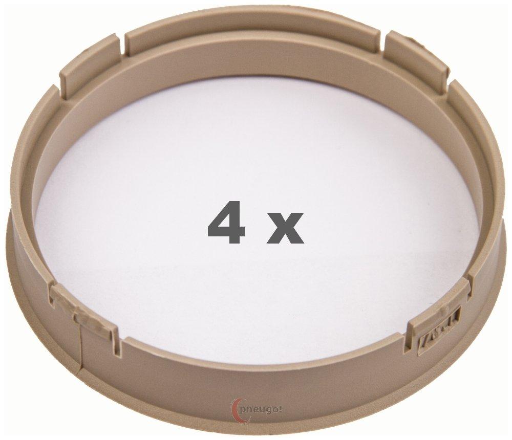 4 x Bague de Centrage 73, 1 mm sur 67, 1 mm Beige 1mm sur 67 1mm Beige Pneugo